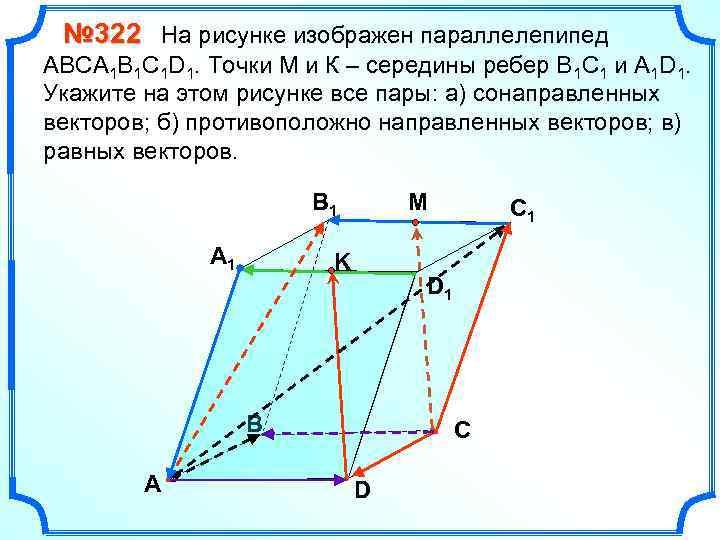 постройте рисунке векторы равные abcda1b1c1d1. на изобразите параллелепипед