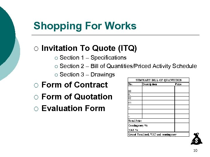 Shopping For Works ¡ Invitation To Quote (ITQ) Section 1 – Specifications ¡ Section