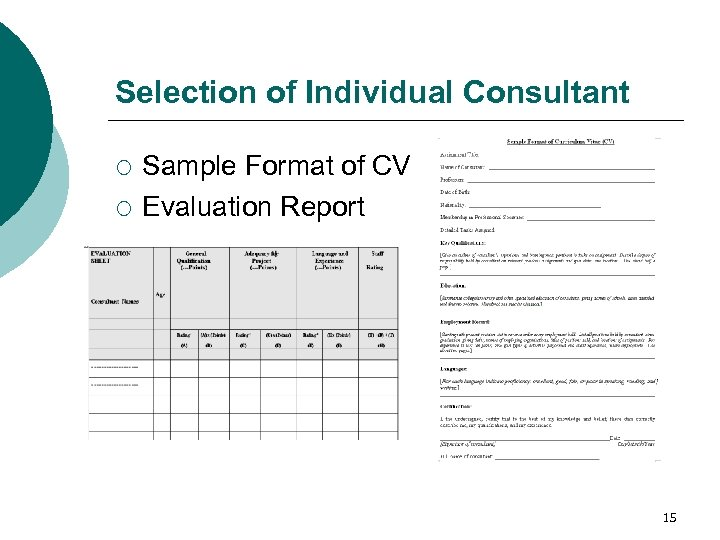 Selection of Individual Consultant ¡ ¡ Sample Format of CV Evaluation Report 15
