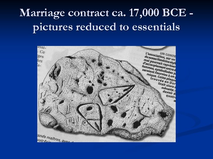 Marriage contract ca. 17, 000 BCE pictures reduced to essentials