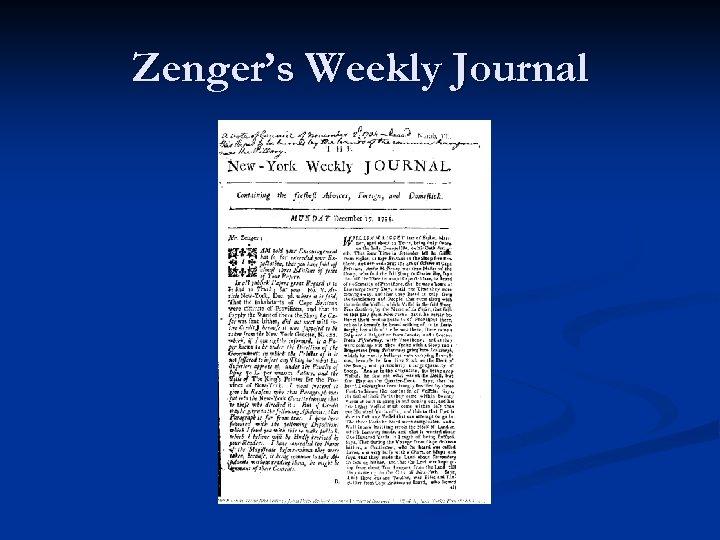 Zenger's Weekly Journal
