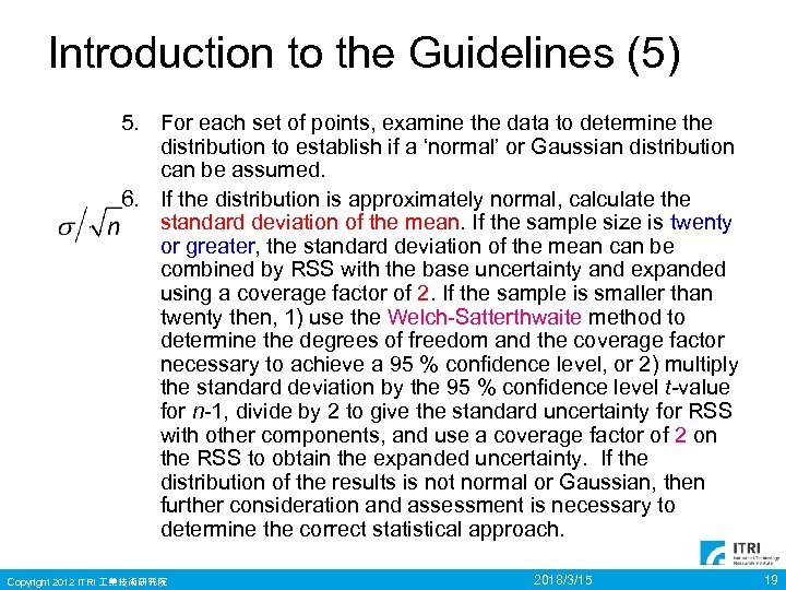 Introduction to the Guidelines (5) 5. For each set of points, examine the data