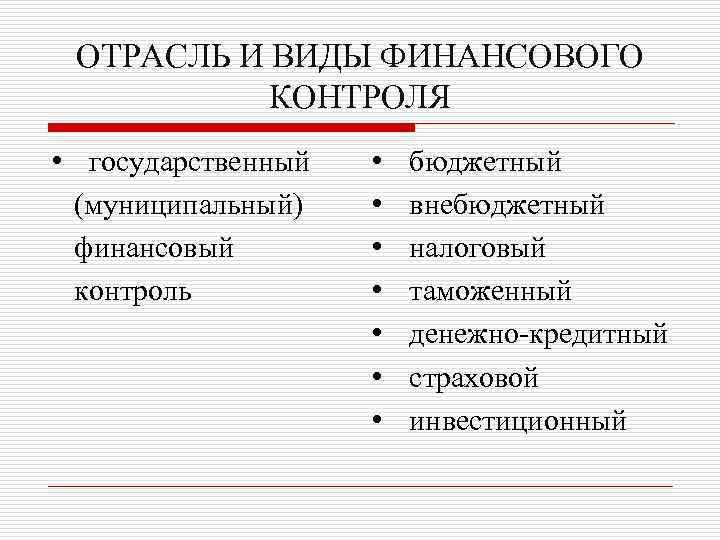 ОТРАСЛЬ И ВИДЫ ФИНАНСОВОГО КОНТРОЛЯ • государственный (муниципальный) финансовый контроль • • бюджетный внебюджетный