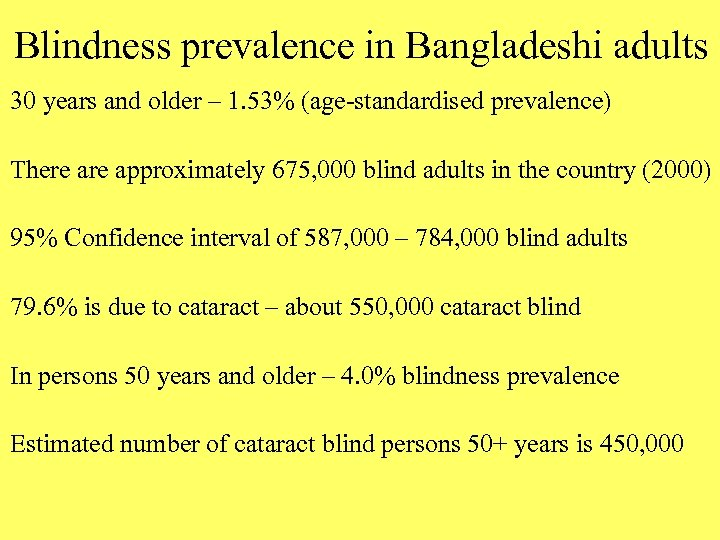 Blindness prevalence in Bangladeshi adults 30 years and older – 1. 53% (age-standardised prevalence)