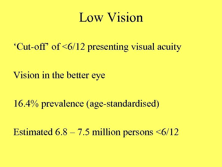 Low Vision 'Cut-off' of <6/12 presenting visual acuity Vision in the better eye 16.