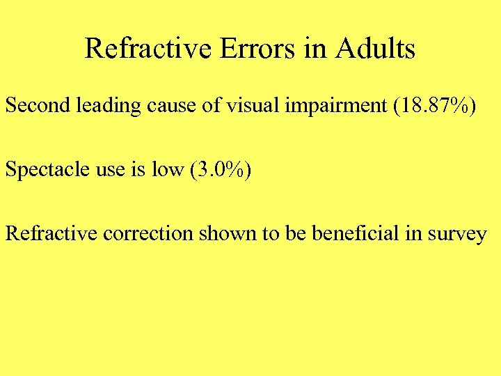 Refractive Errors in Adults Second leading cause of visual impairment (18. 87%) Spectacle use