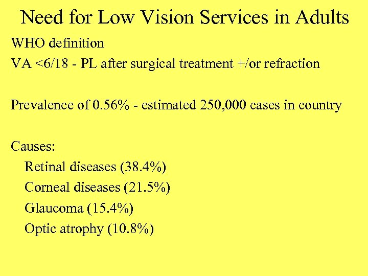 Need for Low Vision Services in Adults WHO definition VA <6/18 - PL after