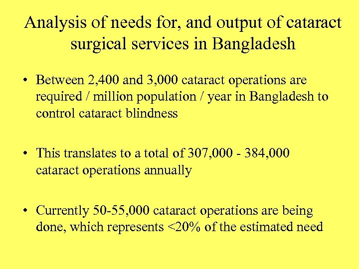 Analysis of needs for, and output of cataract surgical services in Bangladesh • Between