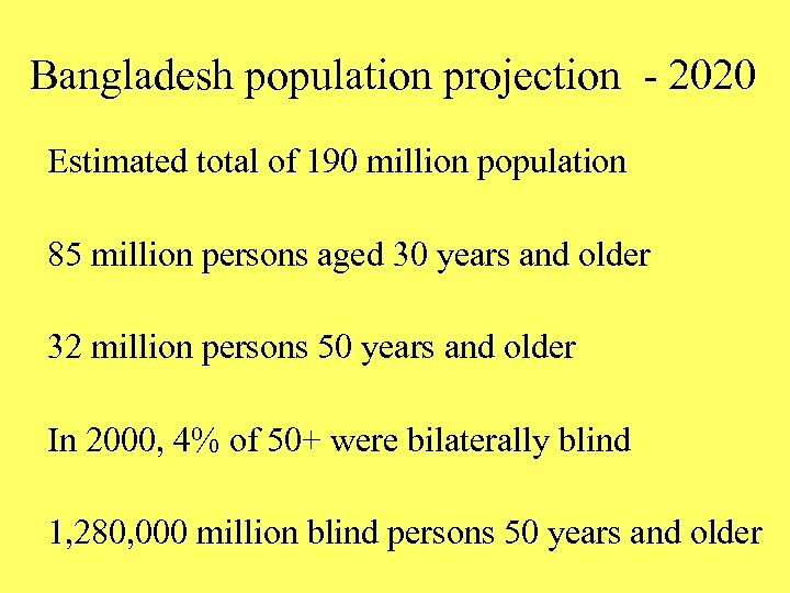 Bangladesh population projection - 2020 Estimated total of 190 million population 85 million persons
