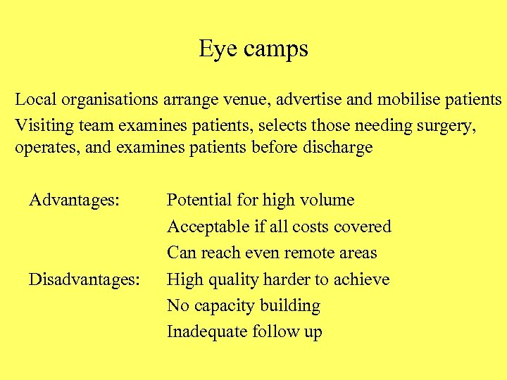 Eye camps Local organisations arrange venue, advertise and mobilise patients Visiting team examines patients,