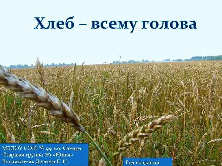 Хлеб – всему голова МБДОУ СОШ № 99 г. о. Самара Старшая группа №