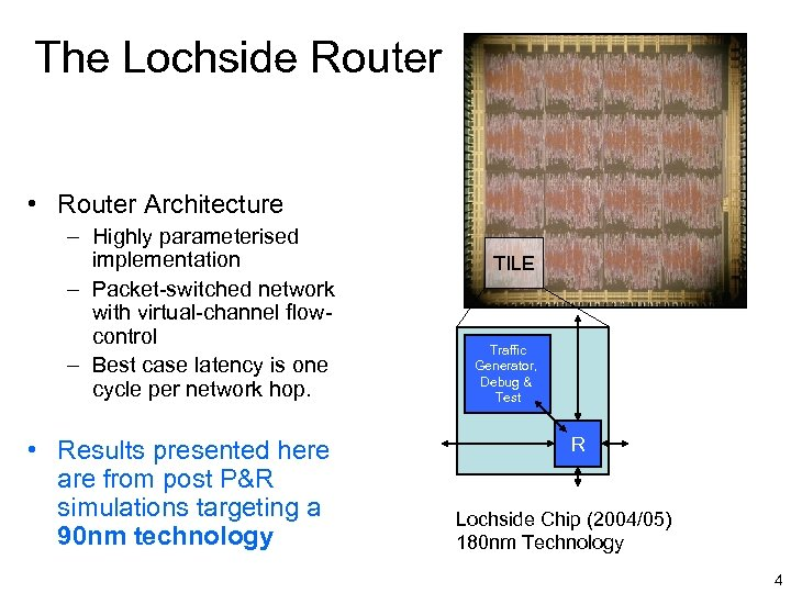The Lochside Router • Router Architecture – Highly parameterised implementation – Packet-switched network with