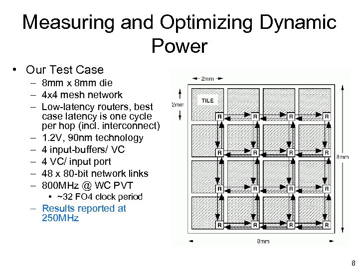 Measuring and Optimizing Dynamic Power • Our Test Case – 8 mm x 8