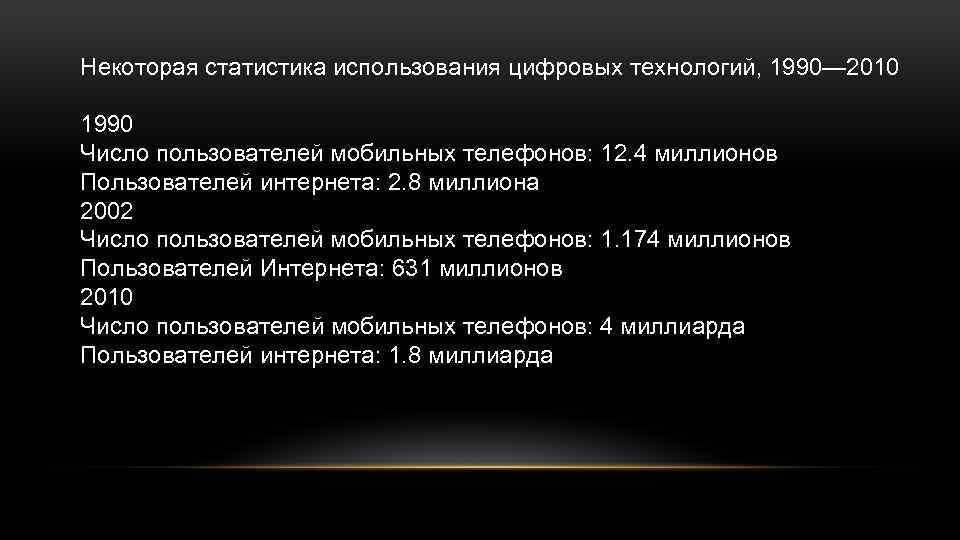 Некоторая статистика использования цифровых технологий, 1990— 2010 1990 Число пользователей мобильных телефонов: 12. 4