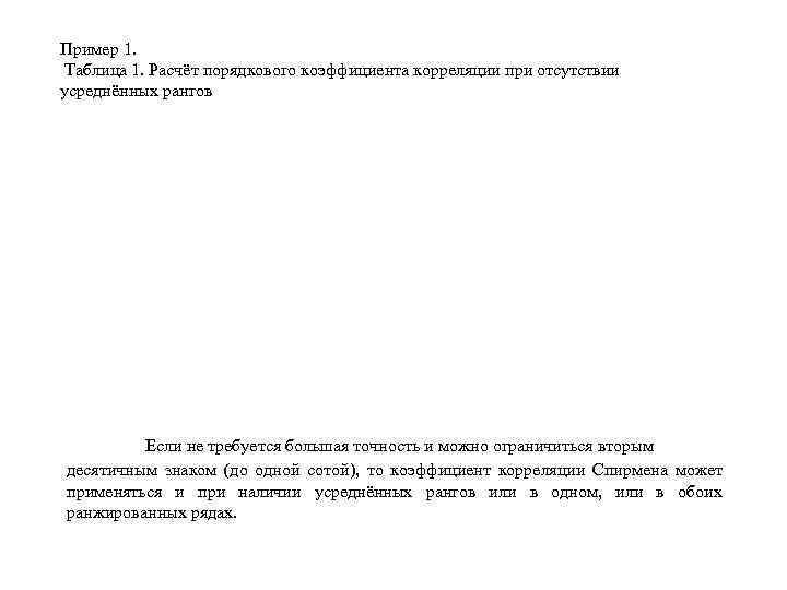 Пример 1. Таблица 1. Расчёт порядкового коэффициента корреляции при отсутствии усреднённых рангов Если не