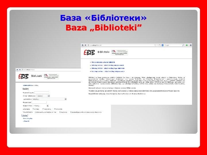 "База «Бібліотеки» Baza ""Biblioteki"""