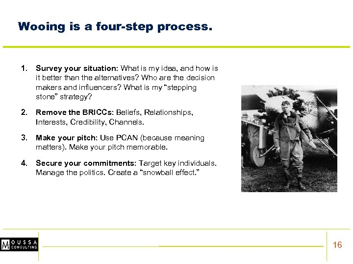 Wooing is a four-step process. 1. Survey your situation: What is my idea, and