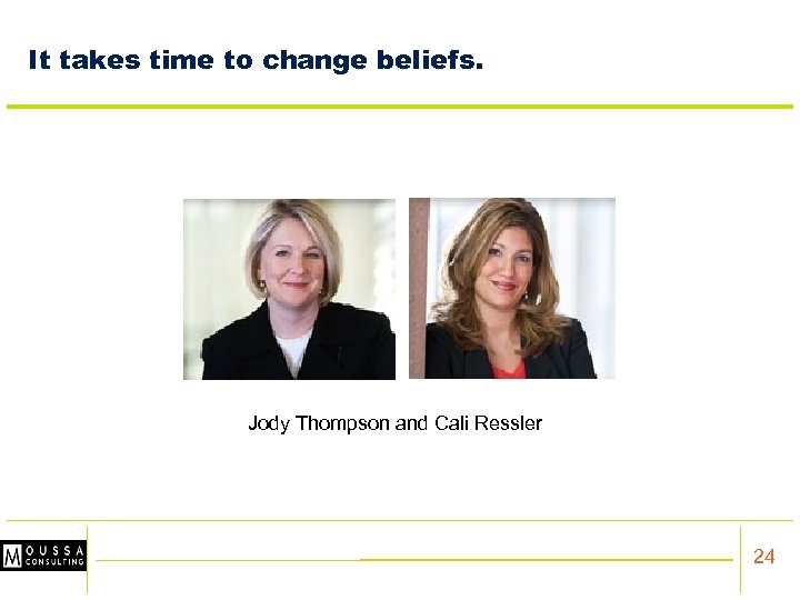 It takes time to change beliefs. Jody Thompson and Cali Ressler 24