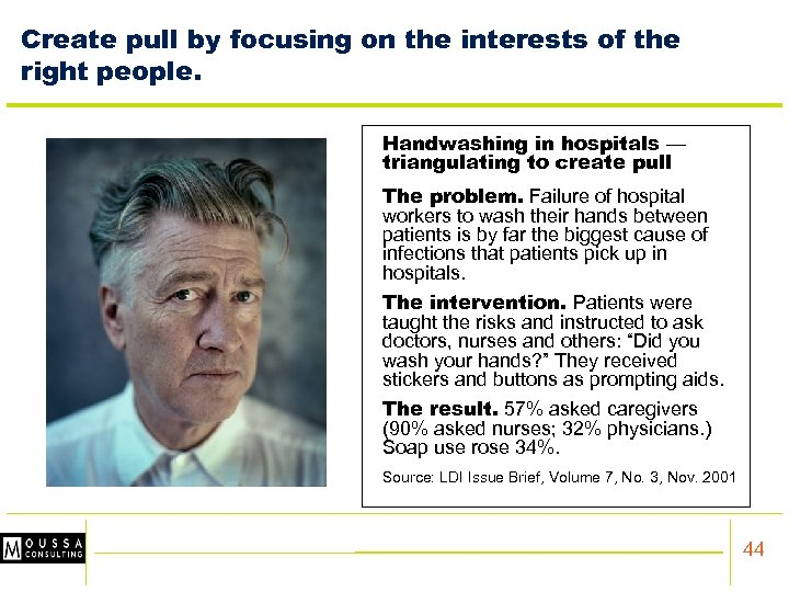 Create pull by focusing on the interests of the right people. Handwashing in hospitals