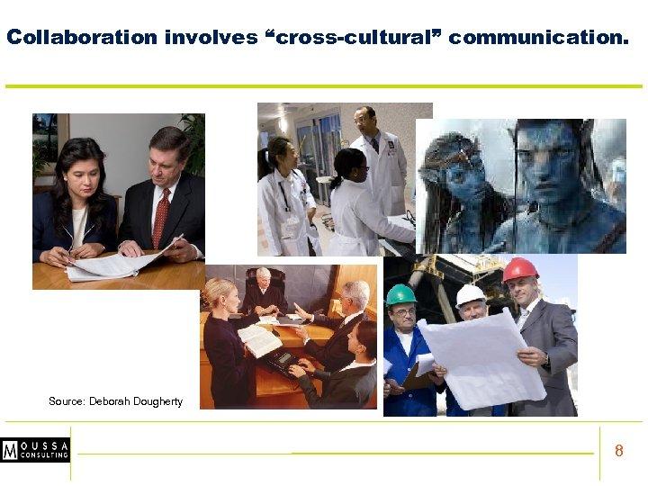 "Collaboration involves ""cross-cultural"" communication. Source: Deborah Dougherty 8"