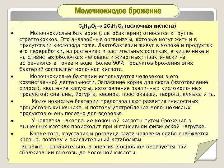 Молочнокислое брожение • • • С 6 Н 12 О 6 2 С 3