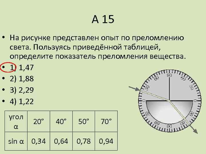 А 15 • На рисунке представлен опыт по преломлению света. Пользуясь приведённой таблицей, определите