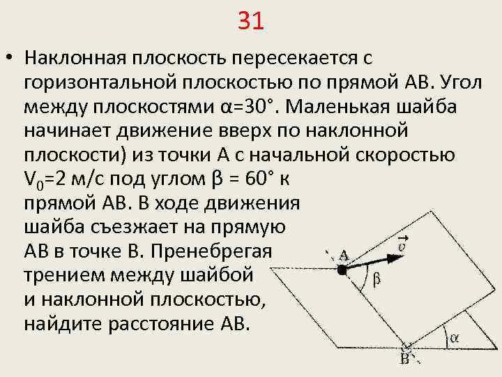 31 • Наклонная плоскость пересекается с горизонтальной плоскостью по прямой АВ. Угол между плоскостями