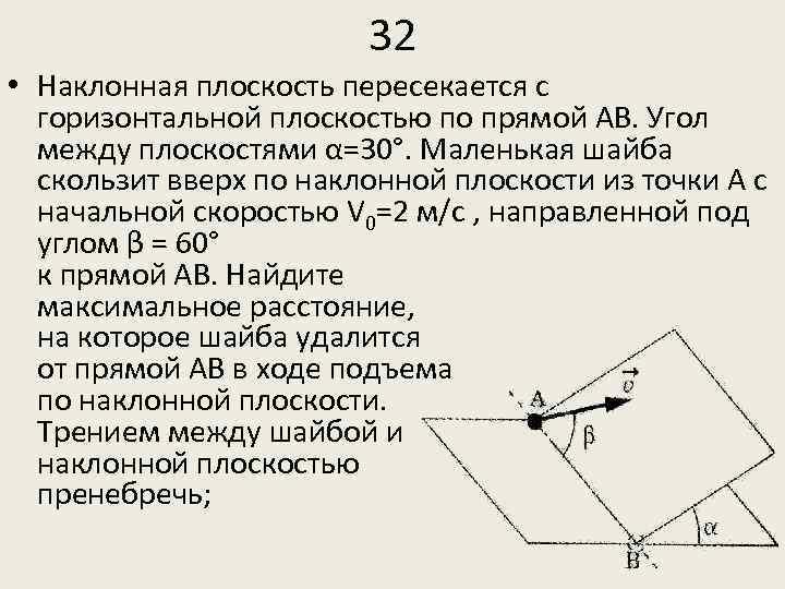 32 • Наклонная плоскость пересекается с горизонтальной плоскостью по прямой АВ. Угол между плоскостями