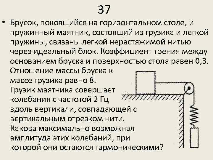 37 • Брусок, покоящийся на горизонтальном столе, и пружинный маятник, состоящий из грузика и