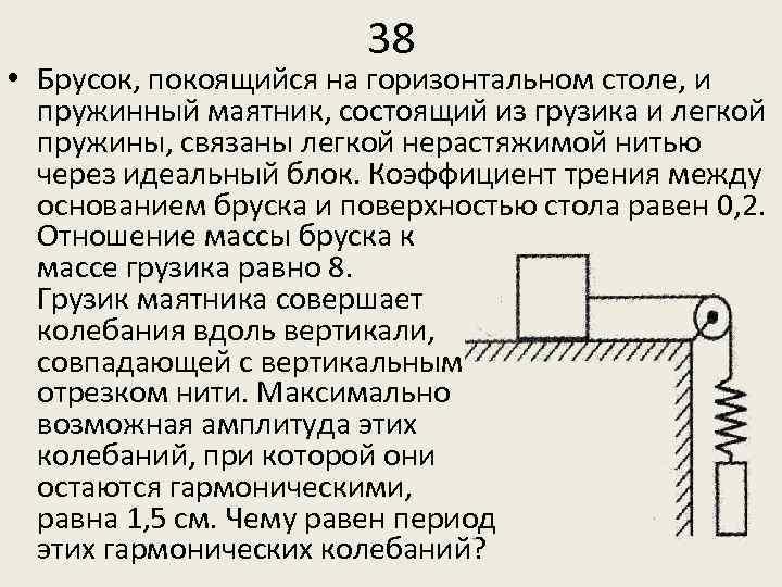 38 • Брусок, покоящийся на горизонтальном столе, и пружинный маятник, состоящий из грузика и