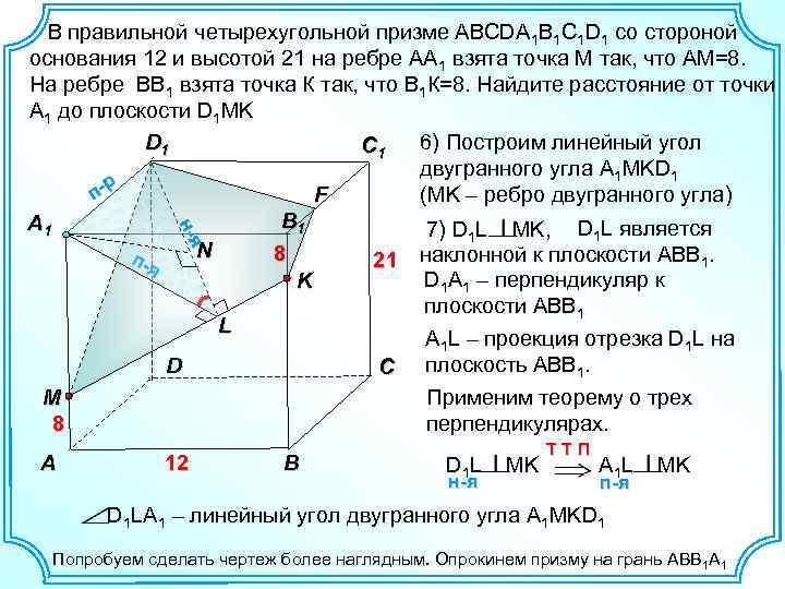 -я н-я В правильной четырехугольной призме ABCDA 1 B 1 C 1 D 1