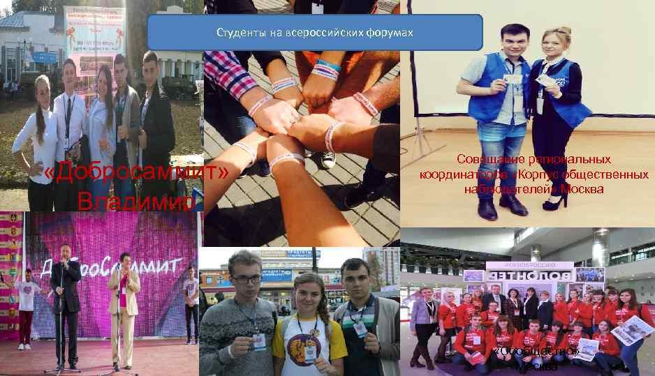 Студенты на всероссийских форумах «Добросаммит» Владимир Совещание региональных координаторов «Корпус общественных наблюдателей» Москва «Сообщество»