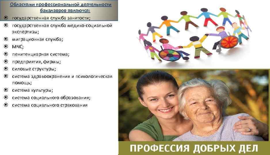 Областями профессиональной деятельности бакалавров являются: государственная служба занятости; государственная служба медико-социальной экспертизы; миграционная