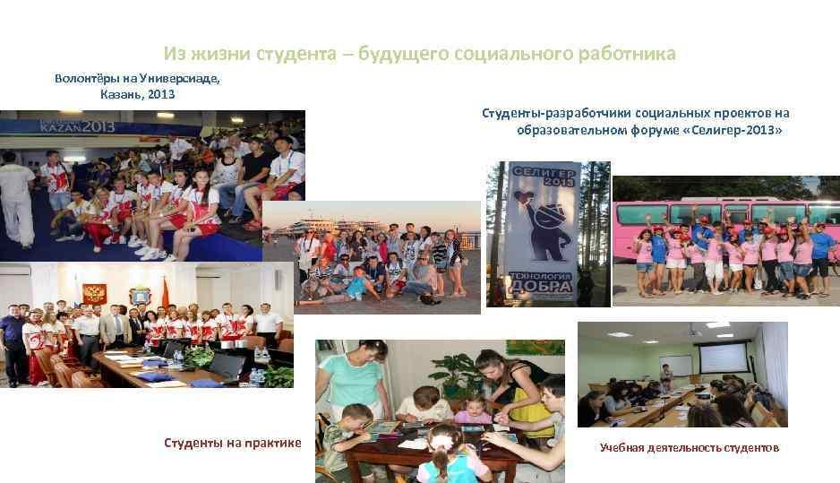 Из жизни студента – будущего социального работника Волонтёры на Универсиаде, Казань, 2013 Студенты-разработчики социальных