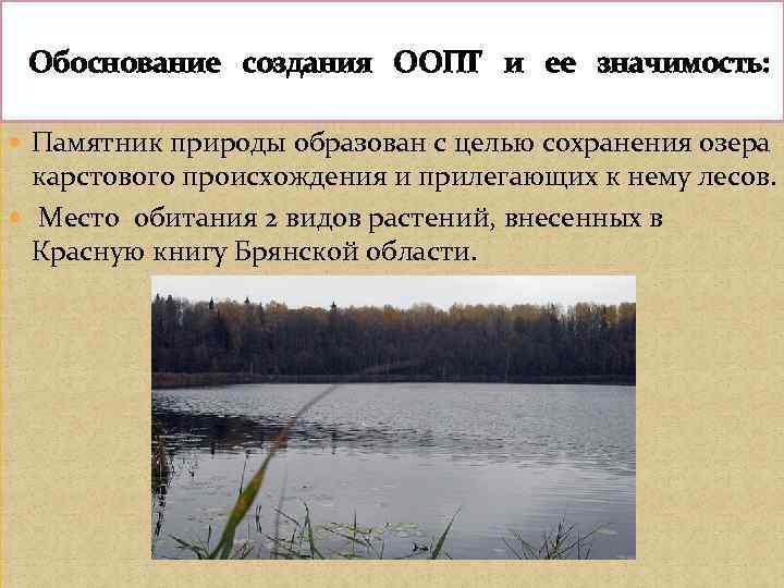 Обоснование создания ООПТ и ее значимость: Памятник природы образован с целью сохранения озера
