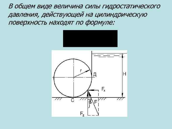 В общем виде величина силы гидростатического давления, действующей на цилиндрическую поверхность находят по формуле: