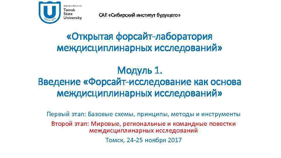 САЕ «Сибирский институт будущего» «Открытая форсайт-лаборатория междисциплинарных исследований» Модуль 1. Введение «Форсайт-исследование как основа