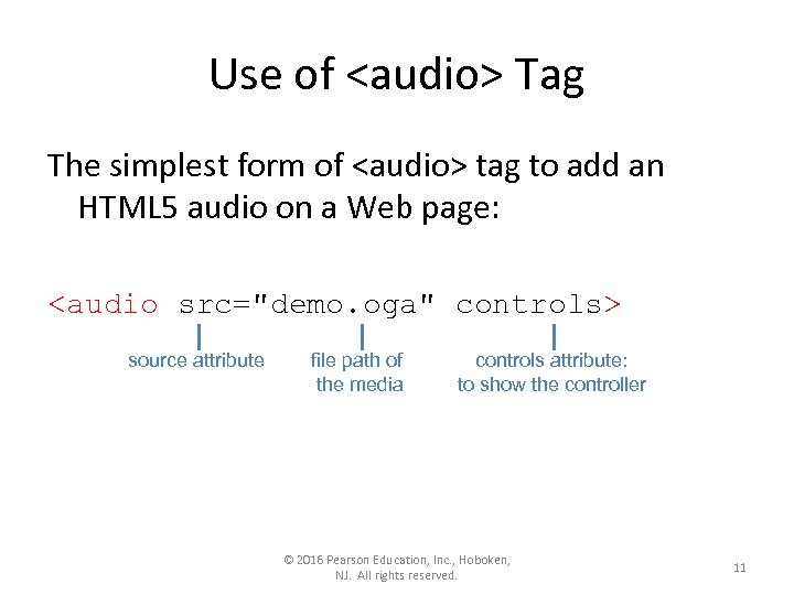 Use of <audio> Tag The simplest form of <audio> tag to add an HTML