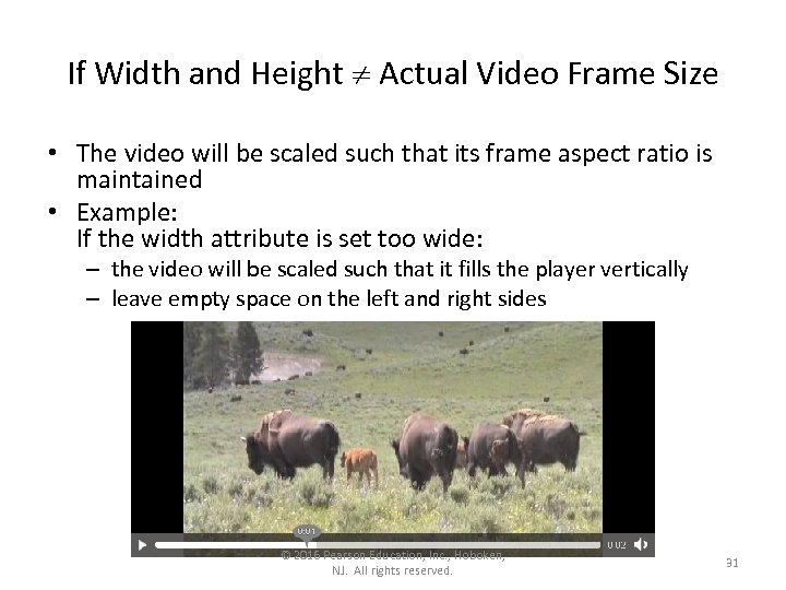 If Width and Height Actual Video Frame Size • The video will be scaled