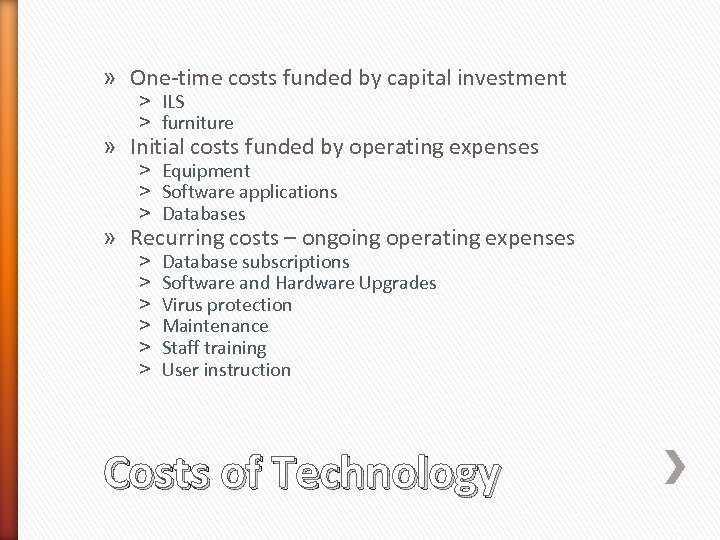 » One-time costs funded by capital investment ˃ ILS ˃ furniture » Initial costs