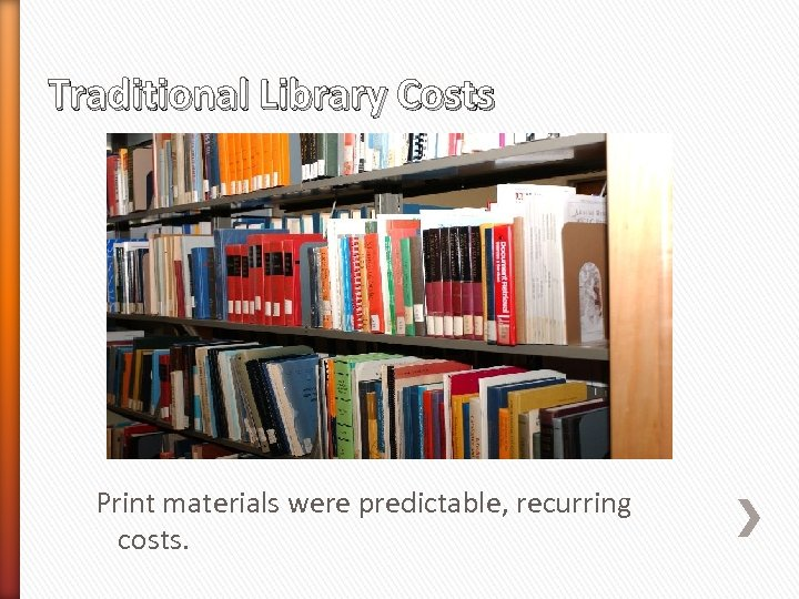 Traditional Library Costs Print materials were predictable, recurring costs.