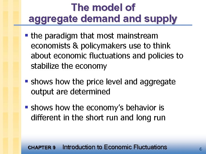 The model of aggregate demand supply § the paradigm that most mainstream economists &