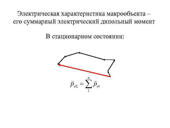 Электрическая характеристика макрообъекта – его суммарный электрический дипольный момент В стационарном состоянии:
