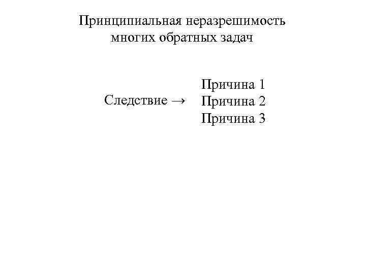 Принципиальная неразрешимость многих обратных задач Следствие → Причина 1 Причина 2 Причина 3