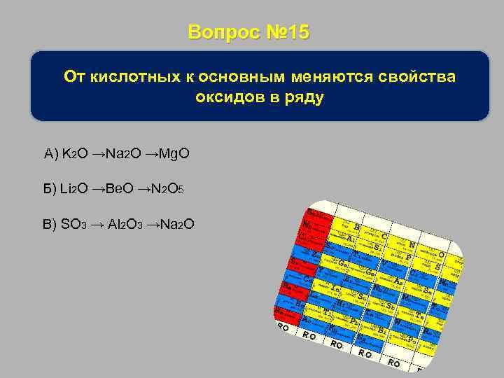 Вопрос № 15 От кислотных к основным меняются свойства оксидов в ряду А) K
