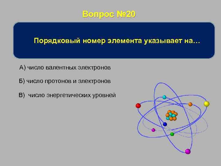 Вопрос № 20 Порядковый номер элемента указывает на… А) число валентных электронов Б) число