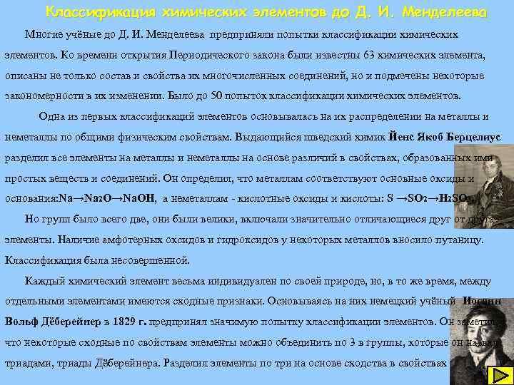 Классификация химических элементов до Д. И. Менделеева Многие учёные до Д. И. Менделеева предприняли