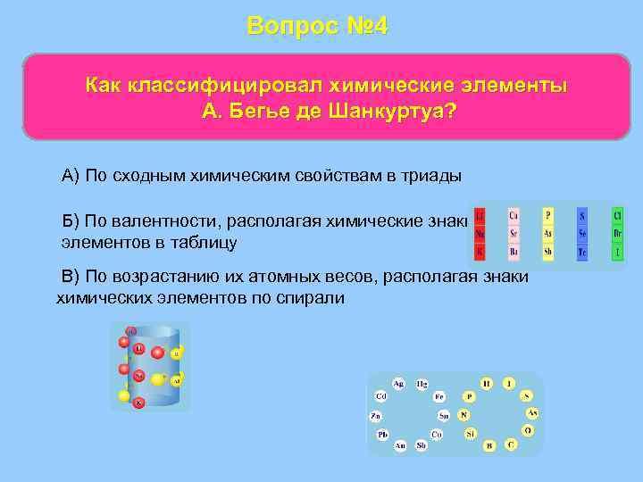 Вопрос № 4 Как классифицировал химические элементы А. Бегье де Шанкуртуа? А) По сходным