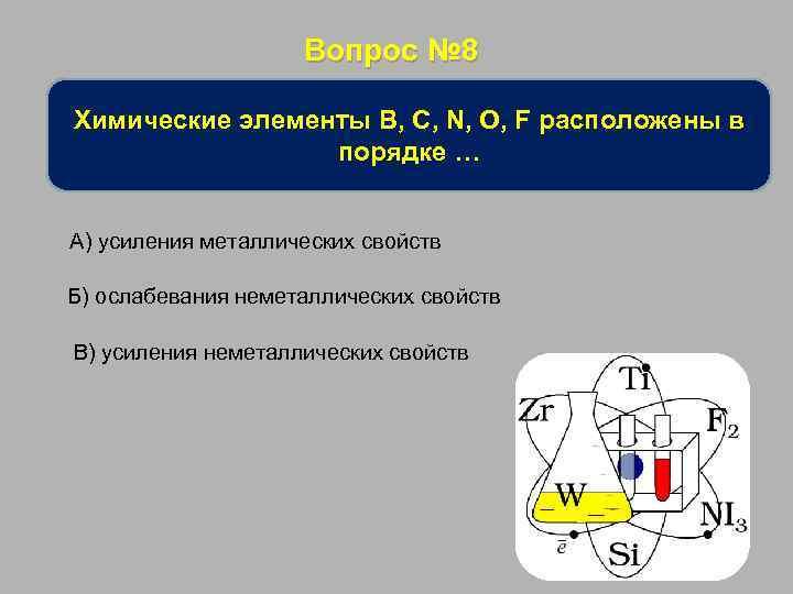Вопрос № 8 Химические элементы B, C, N, O, F расположены в порядке …