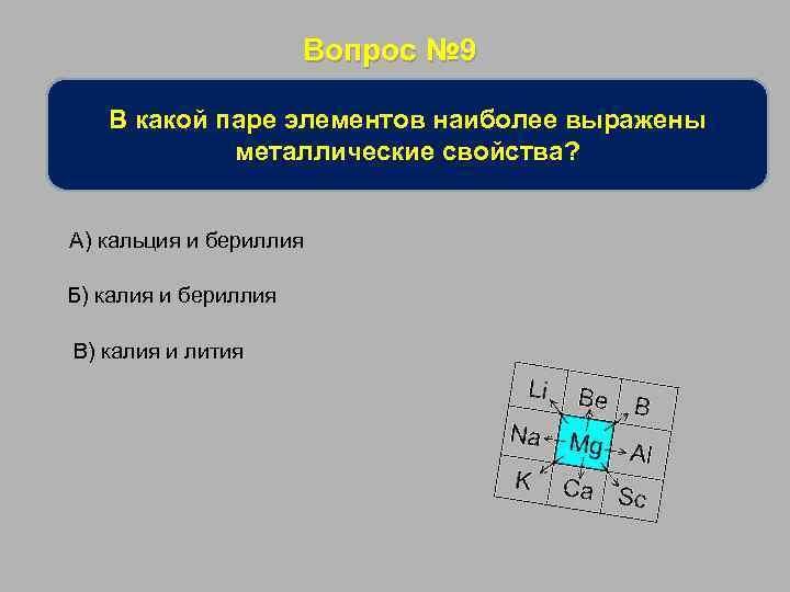 Вопрос № 9 В какой паре элементов наиболее выражены металлические свойства? А) кальция и